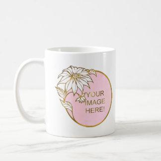 GOLD FLOWER PHOTO FRAME, CUSTOM IMAGE MONOGRAM CLASSIC WHITE COFFEE MUG