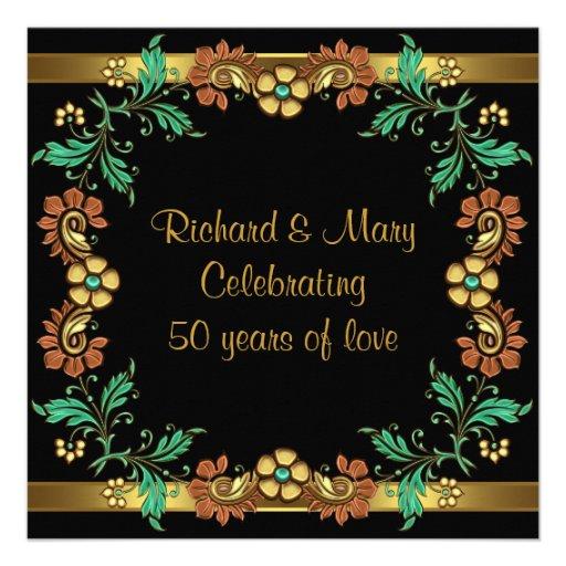Gold Flowers 50th Wedding Anniversary Party Custom Invites