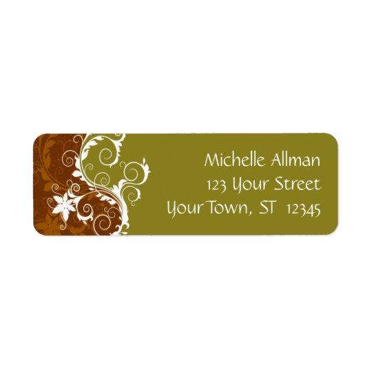 Gold Flowers Avery Label Return Address Label