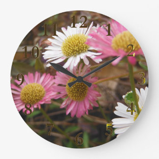 gold & flowers large clock
