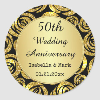 Gold flowers on black 50th Anniversary Round Sticker