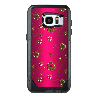 Gold Flowers on Pink OtterBox Samsung Galaxy S7 Edge Case