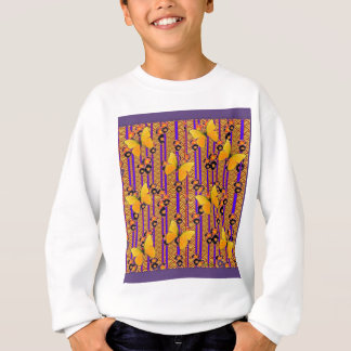 GOLD FLUTTERING BUTTERFLIES PURPLE ART COLOR SWEATSHIRT