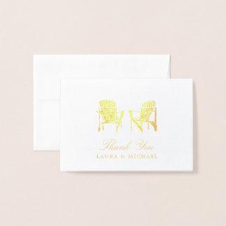 Gold Foil Adirondack Beach Chairs | Wedding Foil Card