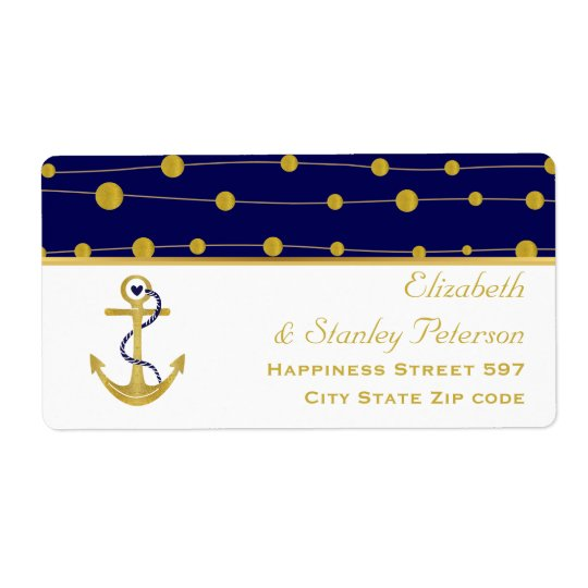 Gold foil anchor navy blue nautical modern wedding shipping label