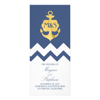 Gold Foil Anchor Navy Nautical Wedding Programs