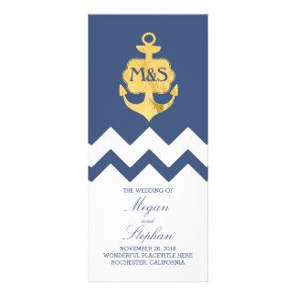 Gold Foil Anchor Navy Nautical Wedding Programs Rack Card