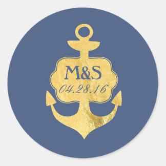 Gold Foil Anchor Navy Wedding Classic Round Sticker