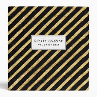 Gold Foil and Black Diagonal Stripes Pattern 3 Ring Binders