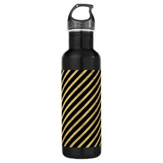 Gold Foil and Black Diagonal Stripes Pattern 710 Ml Water Bottle