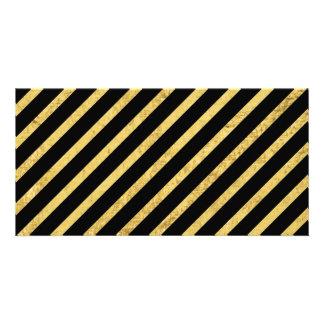 Gold Foil and Black Diagonal Stripes Pattern Card