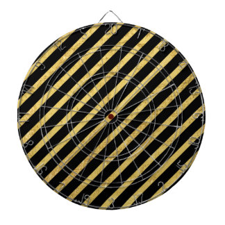 Gold Foil and Black Diagonal Stripes Pattern Dartboard With Darts