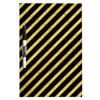 Gold Foil and Black Diagonal Stripes Pattern Dry Erase Board