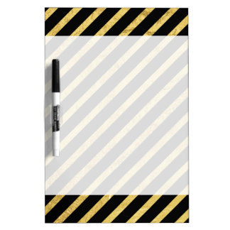 Gold Foil and Black Diagonal Stripes Pattern Dry Erase Board