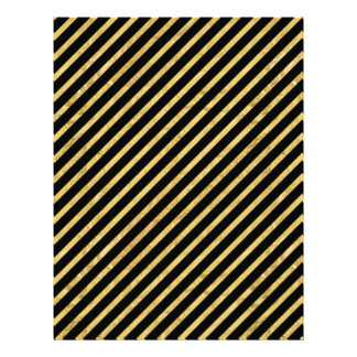 Gold Foil and Black Diagonal Stripes Pattern Letterhead