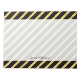 Gold Foil and Black Diagonal Stripes Pattern Notepads