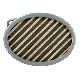 Gold Foil and Black Diagonal Stripes Pattern Oval Belt Buckles