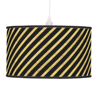 Gold Foil and Black Diagonal Stripes Pattern Pendant Lamp