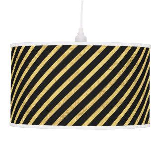 Gold Foil and Black Diagonal Stripes Pattern Pendant Lamp