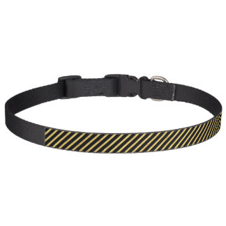 Gold Foil and Black Diagonal Stripes Pattern Pet Collar