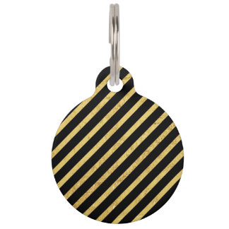 Gold Foil and Black Diagonal Stripes Pattern Pet Tag