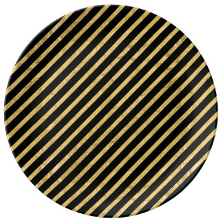 Gold Foil and Black Diagonal Stripes Pattern Plate