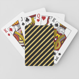 Gold Foil and Black Diagonal Stripes Pattern Playing Cards
