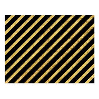 Gold Foil and Black Diagonal Stripes Pattern Postcard