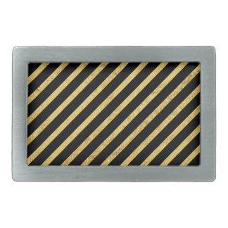 Gold Foil and Black Diagonal Stripes Pattern Rectangular Belt Buckles