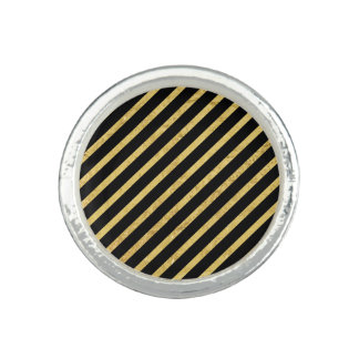 Gold Foil and Black Diagonal Stripes Pattern Rings