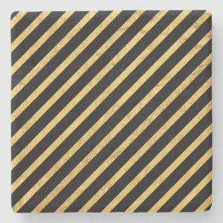 Gold Foil and Black Diagonal Stripes Pattern Stone Coaster