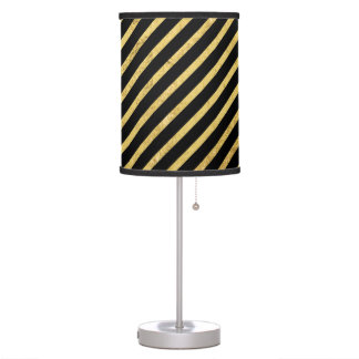 Gold Foil and Black Diagonal Stripes Pattern Table Lamp