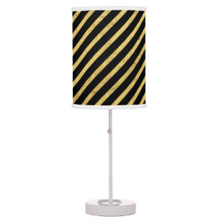 Gold Foil and Black Diagonal Stripes Pattern Table Lamp