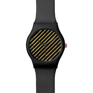 Gold Foil and Black Diagonal Stripes Pattern Watch