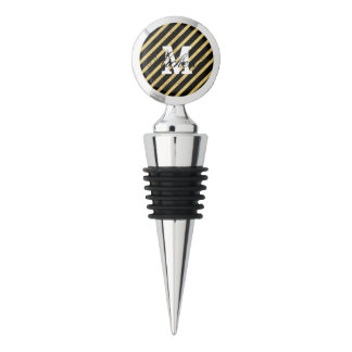 Gold Foil and Black Diagonal Stripes Pattern Wine Stopper