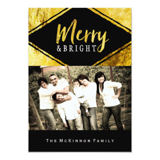 """Gold Foil and Bright Christmas Photo Cards 5"""" X 7"""" Invitation Card"""
