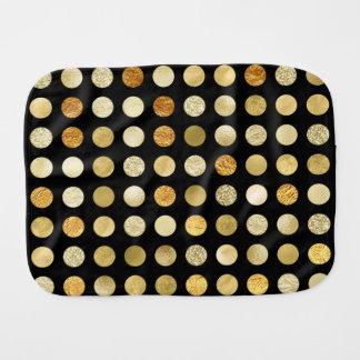 Gold Foil and Glitter Polka Dots Black Baby Burp Cloths