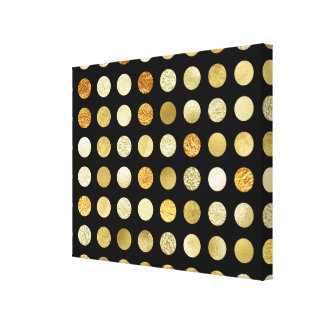 Gold Foil and Glitter Polka Dots Black Canvas Print