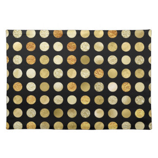 Gold Foil and Glitter Polka Dots Black Placemat