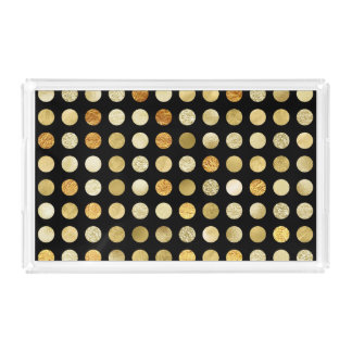 Gold Foil and Glitter Polka Dots Black Serving Tray