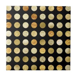 Gold Foil and Glitter Polka Dots Black Tile