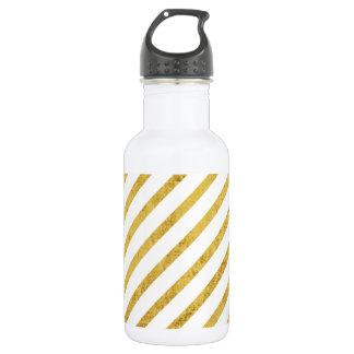 Gold Foil and White Diagonal Stripes Pattern 532 Ml Water Bottle