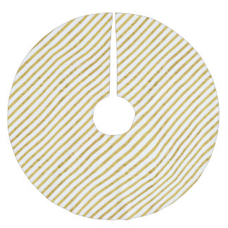 Gold Foil and White Diagonal Stripes Pattern Brushed Polyester Tree Skirt