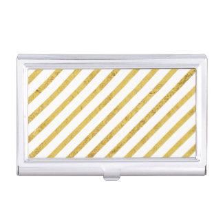 Gold Foil and White Diagonal Stripes Pattern Business Card Holders