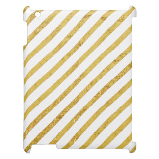 Gold Foil and White Diagonal Stripes Pattern Case For The iPad 2 3 4