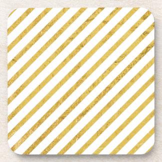Gold Foil and White Diagonal Stripes Pattern Coaster