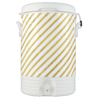 Gold Foil and White Diagonal Stripes Pattern Drinks Cooler