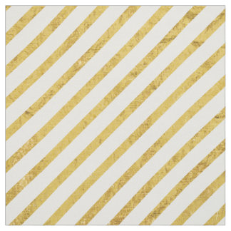 Gold Foil and White Diagonal Stripes Pattern Fabric