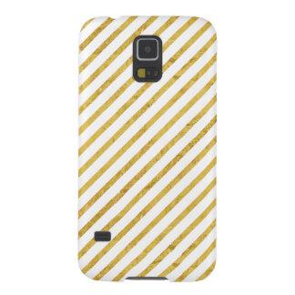 Gold Foil and White Diagonal Stripes Pattern Galaxy S5 Case