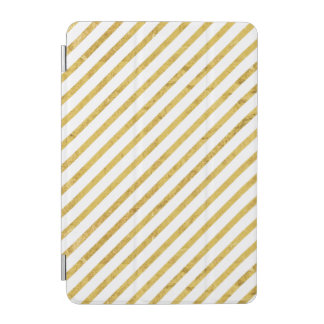 Gold Foil and White Diagonal Stripes Pattern iPad Mini Cover